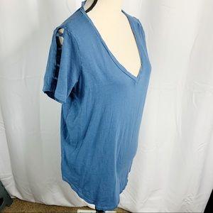 Torrid blue V-neck cold shoulder 0 large